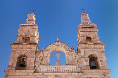 faade: South America, Potosi in Bolivia - the worlds highest city (4070m). Potosi is set against the backdrop of a ranbow-colored mountain - Cerro Rico. Main gate San Lorenzo de Carangas church