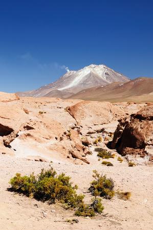 avaroa: South America - The surreal landscape in the Eduardo Avaroa National Reserve of Andean Fauna near Chilean border. The picture present volcano Ollague