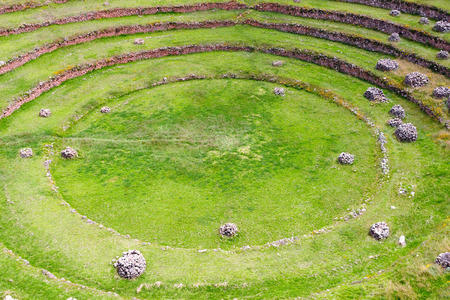 sacred valley of the incas: South America - Moray, ancient Inca circular terraces. Probable there is the Incas laboratory of agriculture, Sacred Valley, Cusco, Peru
