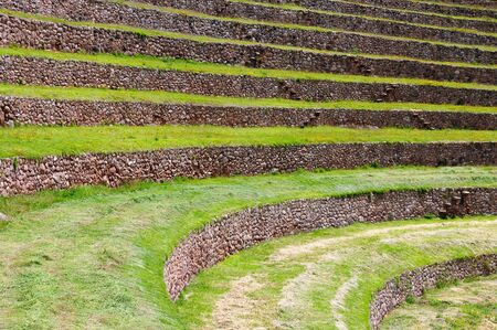 South America - Moray, ancient Inca circular terraces. Probable there is the Incas laboratory of agriculture, Sacred Valley, Cusco, Peru