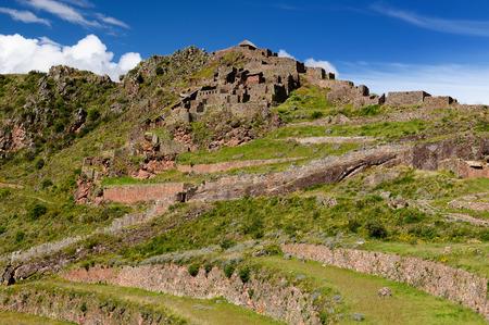 inca ruins: South America, Pisac (Pisaq) - Inca ruins in the sacred valley in the Peruvian Andes, Peru