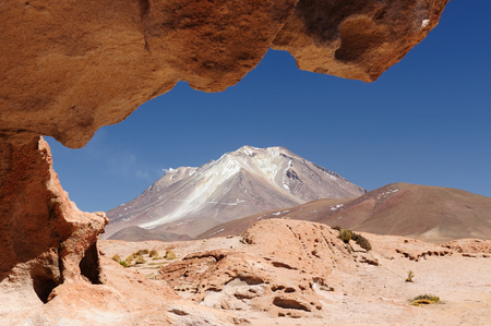avaroa: South America - The surreal landscape in the Eduardo Avaroa National Reserve of Andean Fauna near Chilean border. The picture present volcano Ollague