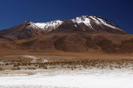 surreal landscape: South America - The surreal landscape in the Eduardo Avaroa National Reserve of Andean Fauna near Chilean border. Lagoon Canapa