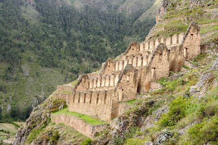 vicinity: The picture presents Pinkulluna Inca ruins in the Secret Valley in the vicinity of Incan ruins of Ollantaytambo fortress