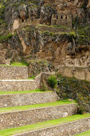 strategically: South America, Peru, Ollantaytambo - incan fortress strategically situated in the north part for Sacred Valley in Peru. Ollantaytambo is one of best kept Inca settlements.The most well-known building is never finished Sun Temple, Gigant Stone