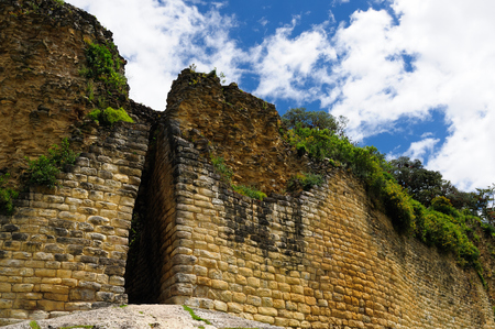 grandeur: South America, Peru, Kuelap matched in grandeur only by the Machu Picchu, this ruined citadel city in the mountains near Chachapoyas. Main gate Stock Photo