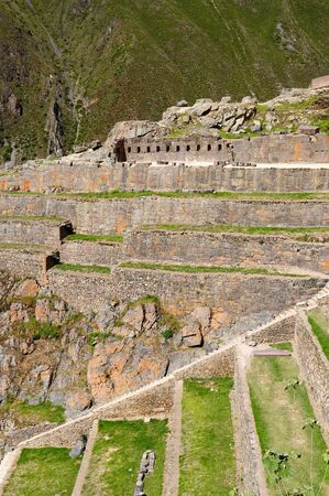 strategically: South America, Peru, Ollantaytambo - incan fortress strategically situated in the north part for Sacred Valley in Peru. Ollantaytambo is one of best kept Inca settlements.