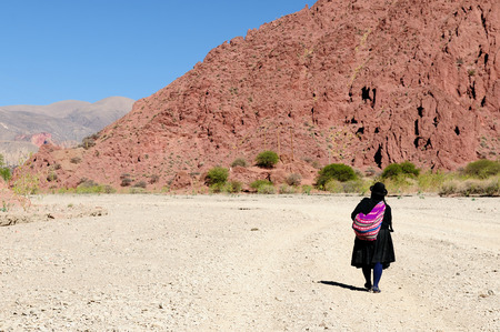 ethnic dress: South America, the woman in the ethnic dress is coming back of the shopping to the village being on a desert in the Bolivian Andes
