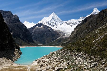 cordillera: South America, Beautiful Cordillera Blanca mountain. The picture presents lagoon Paron and snowcovered Piramide de Garcilaso peak, Peru