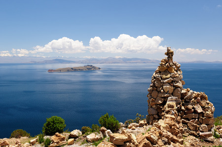 bolivian: South America, Bolivia - Isla del Sol on the Titicaca lake, the largest highaltitude lake in the world Stock Photo