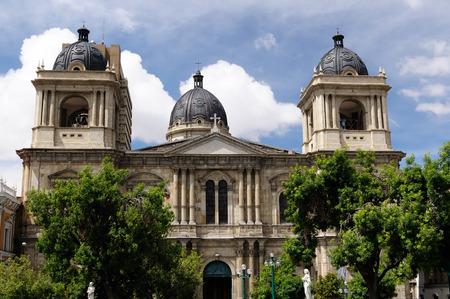 South America, La Paz - the governmental capital of Bolivia. Cityscape - Plaza Murillo - Cathedral