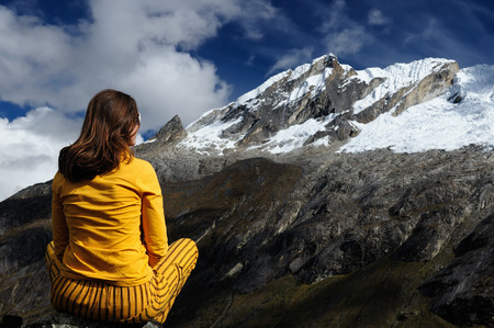 cordillera: Woman in the Peruvian high Andes on the trekking Santa Cruz on the Cordillera Blanca mountains