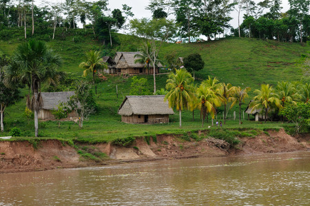 tribes: South America, Peruvian Amazonas landscape. The photo present typical indian tribes settlement in the Amazon Stock Photo