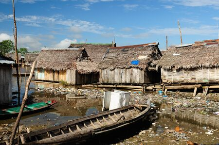 amazonia: South America, Floating wooden houses in the Amazonia Iquitos major city, poor Belem district
