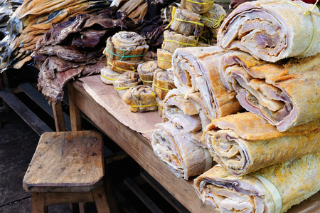 amazonia: South America, Dried fish on the market in the Iquitos major city in Amazonia, Peru