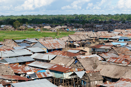 belem: South America, Floating wooden houses in the Amazonia Iquitos major city, poor Belem district