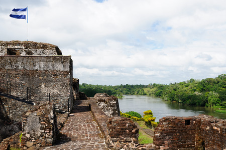 fortification: Central America, Nicaragua, Spanish defensive fortification in of El Castillo on a river bank San Juan defending the access to the city of Grenada against pirates. Stock Photo