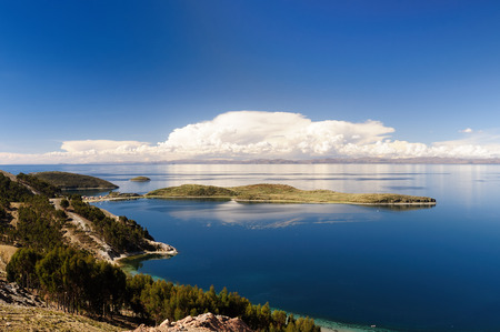 South America, Bolivia - Isla del Sol on the Titicaca lake, the largest highaltitude lake in the world (3808m) This islands legendary Inca creation site and the birthplace of the sun. Landscape of the Titicaca lake