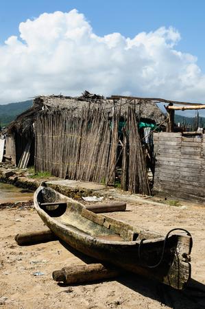 tigre: Central America, Panama, Traditional boat Kuna indians on a Caledonia island on the San Blas archipelago Stock Photo