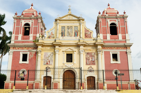 Central America, Leon - the colonial Spanish city in Nicaragua has the larges cathedral in Central America and the colorful architecture. Iglesia El Calvario Editorial