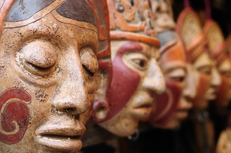 Central America, Mayan clay masks at the market in Guatemala