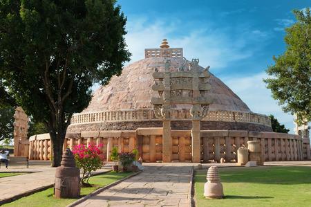Ancient Buddhist Stupa in Sanchi, Madhya Pradesh, India.