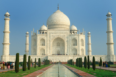pradesh: White marble Taj Mahal in  India, Agra, Uttar Pradesh Editorial