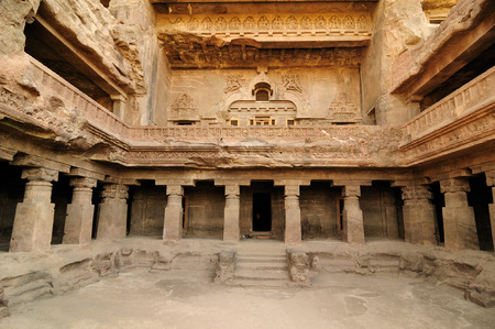 maharashtra: View of ancient Buddhist cave temples at Ellora, Maharashtra, India (Unesco) Stock Photo