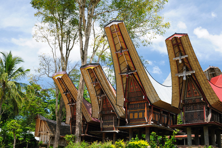 Traditional sweeping and elaborately painted houses with boat-shaped roofs in Tana Toraja. Tongkonan house. South Sulawesi, Indonesia Stock Photo