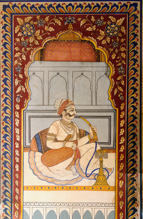ornately: Frescoed Havelis in Shekhawati, traditional ornately decorated residences,  India. Rajasthan