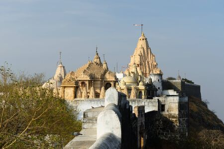Jain temples on the holy Palitana top in the Gujarat state in India Stock Photo