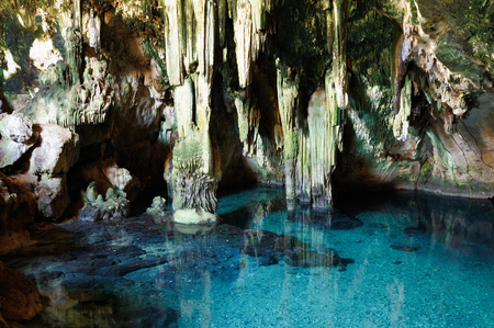 Ancient cenote, underground lake in the cave in Yucatan state, Mexico