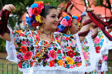 VALLADOLID, MEXICO - MARCH 21:  Dancers on streets of Mexican cities on March 21, 2013 Editorial