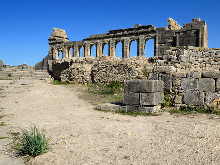 Extensive complex of ruins of the Roman city of Volubilis, Morroco Stock Photo