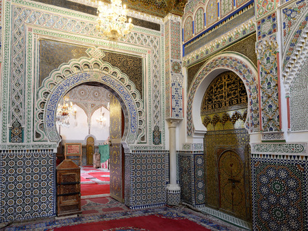 Inside of the mosque in the old part of the city of Fez, Morroco