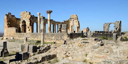 Extensive complex of ruins of the Roman city Volubilis - of ancient capital city of Mauritania in the central part of Morocco by the Meknes city. The photograph presents ancient Roman mosaics