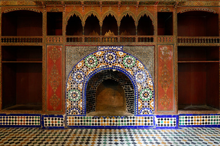 Detail of unusually ornamented Moroccan architecture in Marrakesh Stock Photo