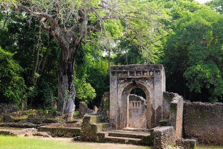 Kenya, Gede ruins are the remains of a Swahili town located in Gedi, a village near the coastal town of Malindi Stock Photo