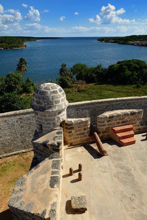 spaniards: Jagua fort built by Spaniards by the Cienfuegos city on Cuba.In the assumption he was supposed to defend the access to the Cienfuegos bay against assaults with pirates Stock Photo