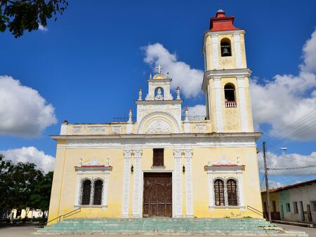 colonial church: Facade of the colonial church by the Maceo square in the Sancti Spiritus town on Cuba Stock Photo