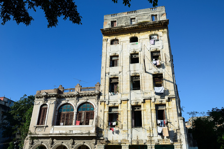 Squalid buildings in the old part of Havana on Cuba