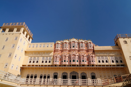 Beautifoul Hawa Mahal Palace in Jaipur city in India. Rajasthan Editorial