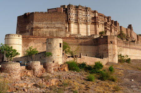 Majestic citadel of Mehrangarh on the hill near Jodphur city. Rajasthan, India Editorial