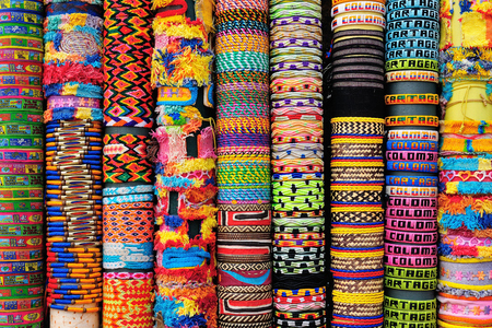 Street stall with hand-made souvenirs, band to the hand, from Cartageny, Colombia, South America