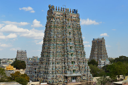 Meenakshi  Sundareswarar Temple in Madurai. Tamil Nadu, India. It is a twin temple, one of which is dedicated to Meenakshi, and the other to Lord Sundareswarar Editorial