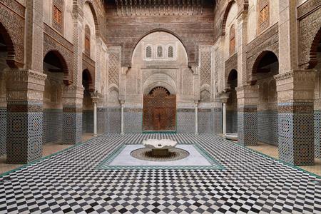 FEZ, MOROCCO - NOVEMBER 30: The interior of the Al-Qarawiyyin Mosque. Fez on November 30, 2015