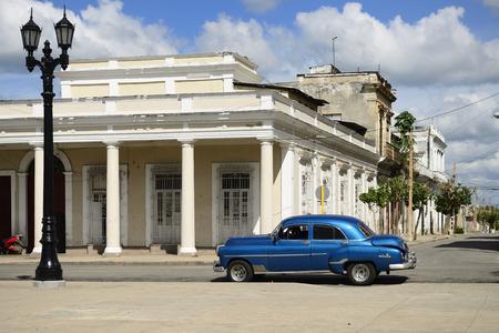CIENFUEGOS, CUBA - 06 NOVEMBER 2016: Colonial building development by the main promenade on the old town in Cienfuegos on Cuba