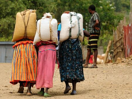 Local Ethiopian people being a market trader in the Konso town in the Omo valley in Ethiopia