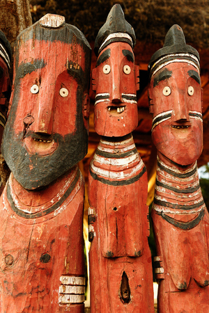 Traditional Ethiopian carved wooden totems in the Konso in Omo Valley, Ethiopia