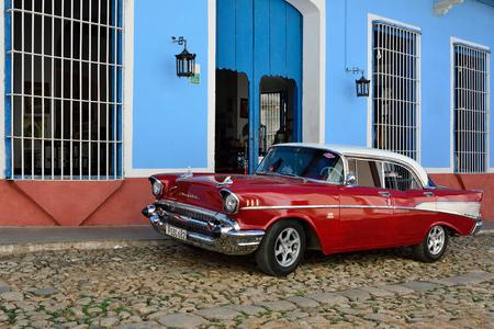 CUBA - 08 NOVEMBER 2016: Classical old chevrolet on Cuban street in Trinidad